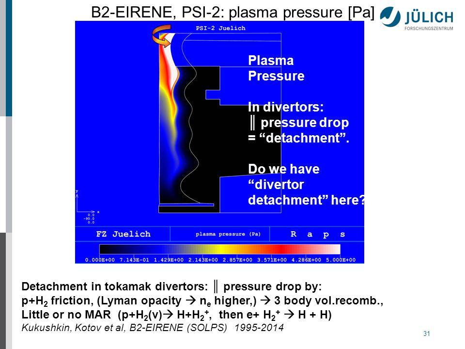 31 Plasma Pressure In divertors: ║ pressure drop = detachment .