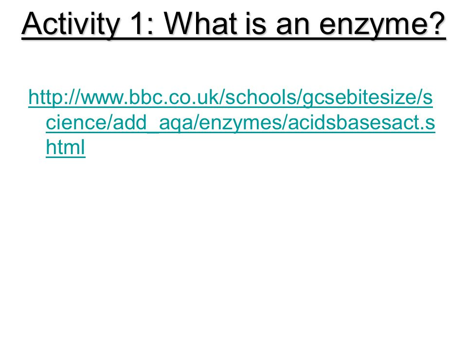 Activity 1: What is an enzyme.