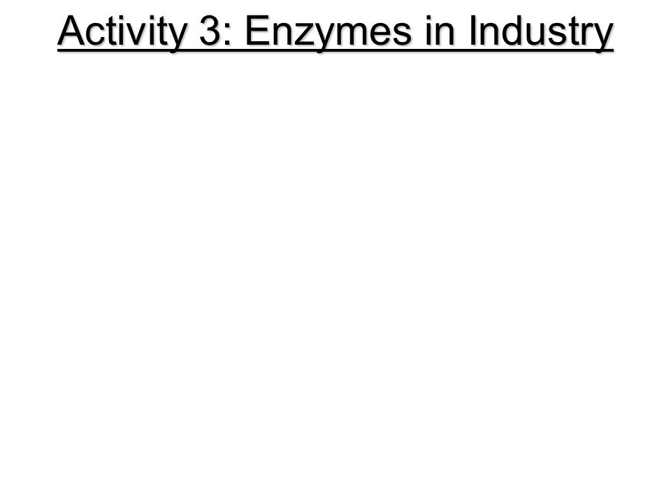 Activity 3: Enzymes in Industry