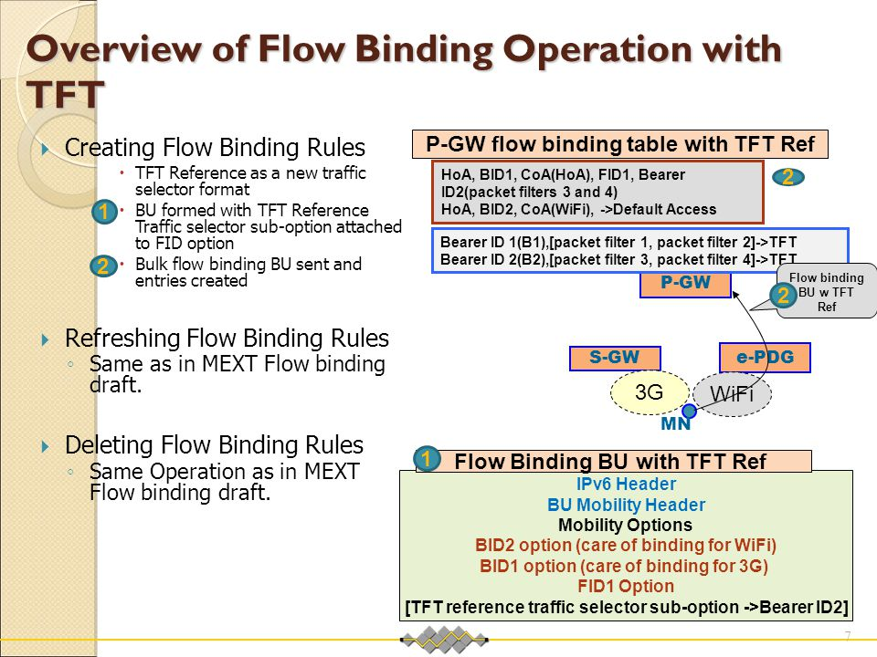 Overview of Flow Binding Operation with TFT  Creating Flow Binding Rules  TFT Reference as a new traffic selector format  BU formed with TFT Refere