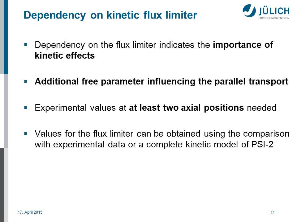 17. April 201511 Dependency on kinetic flux limiter  Dependency on the flux limiter indicates the importance of kinetic effects  Additional free par