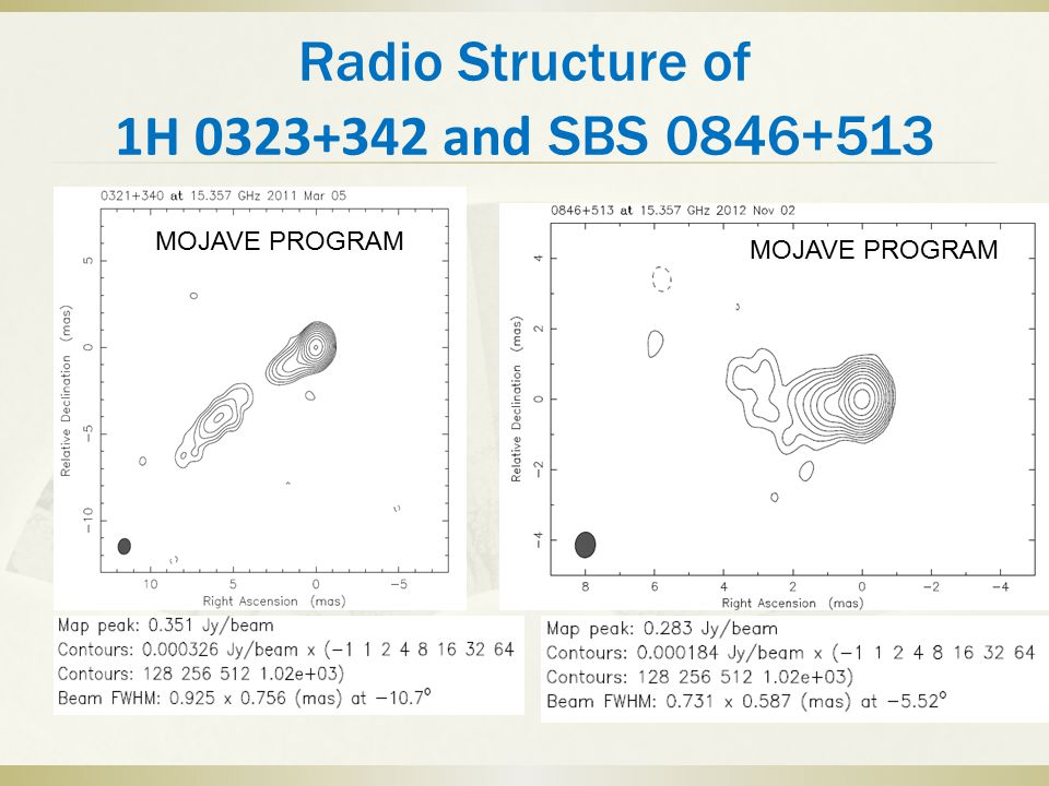 Radio Structure of 1H 0323+342 and SBS 0846+513 MOJAVE PROGRAM