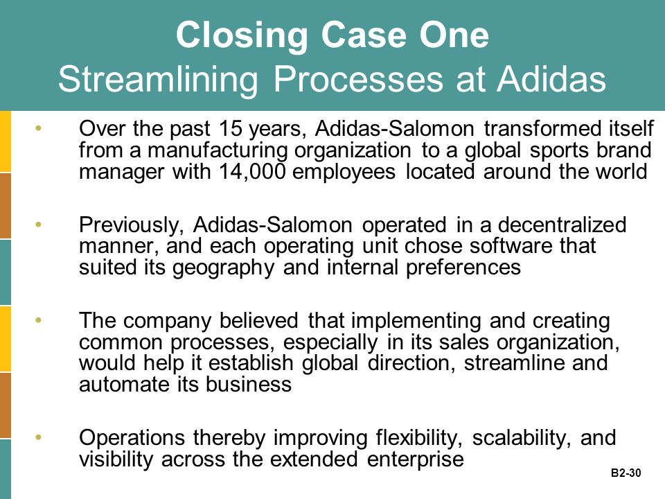 B2-30 Closing Case One Streamlining Processes at Adidas Over the past 15 years, Adidas-Salomon transformed itself from a manufacturing organization to