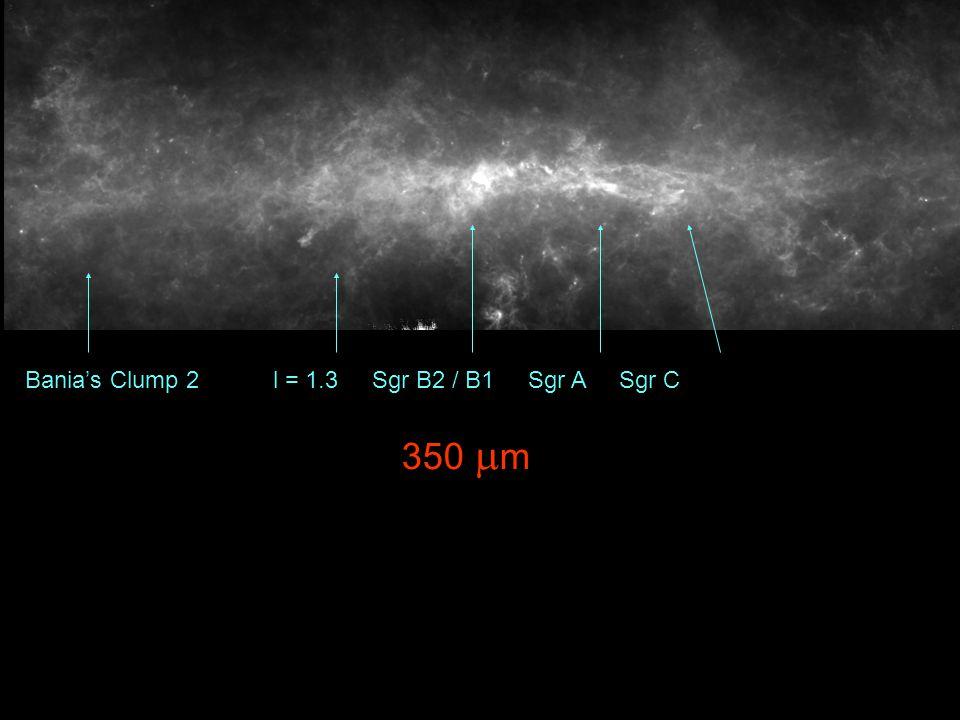 Bania's Clump 2 l = 1.3 Sgr B2 / B1 Sgr A Sgr C 350  m