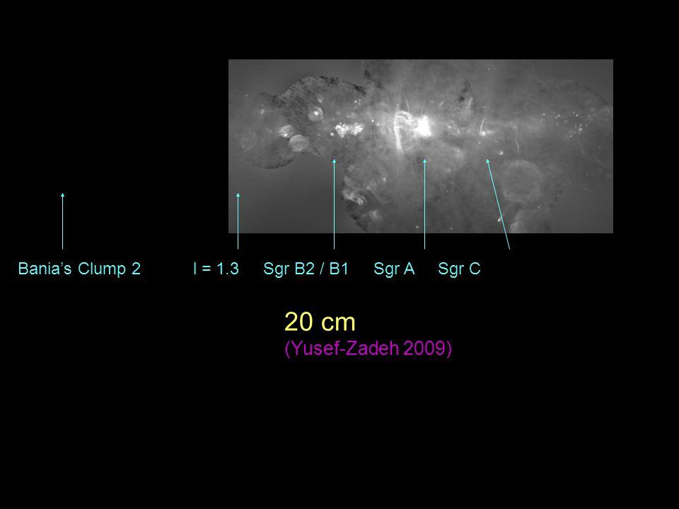 Bania's Clump 2 l = 1.3 Sgr B2 / B1 Sgr A Sgr C 20 cm (Yusef-Zadeh 2009)