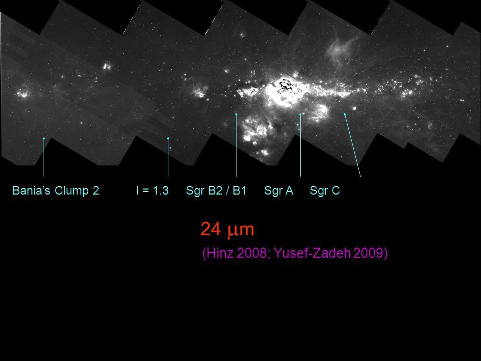 24  m Bania's Clump 2 l = 1.3 Sgr B2 / B1 Sgr A Sgr C (Hinz 2008; Yusef-Zadeh 2009)