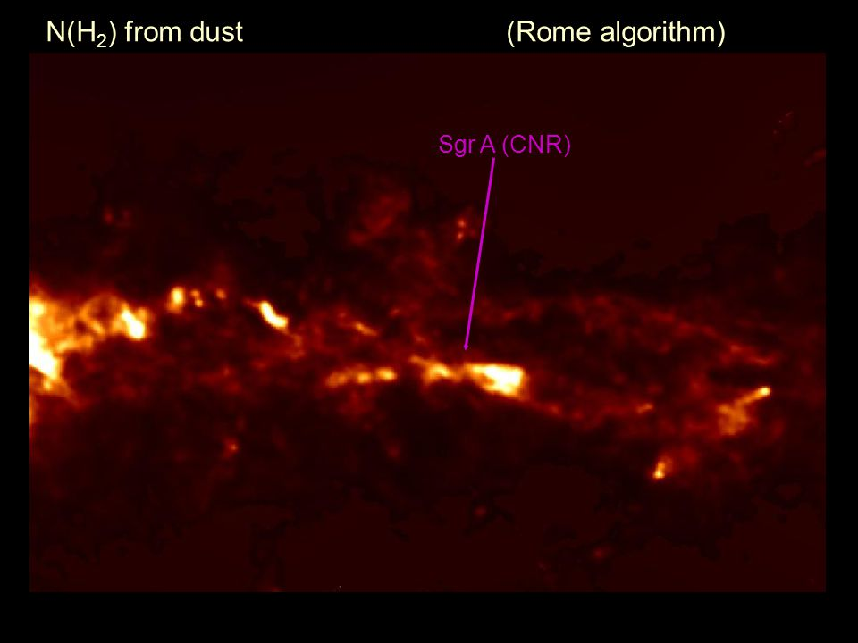 Sgr A (CNR) N(H 2 ) from dust (Rome algorithm)