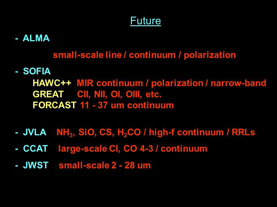 Future - ALMA small-scale line / continuum / polarization - SOFIA HAWC++ MIR continuum / polarization / narrow-band GREAT CII, NII, OI, OIII, etc.