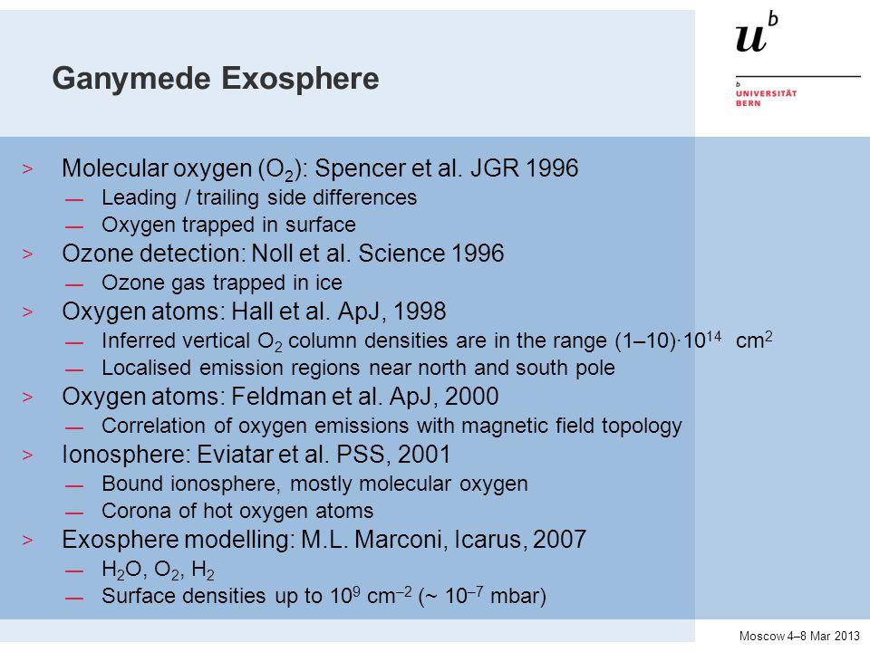 Moscow 4–8 Mar 2013 Ganymede Exosphere > Molecular oxygen (O 2 ): Spencer et al.