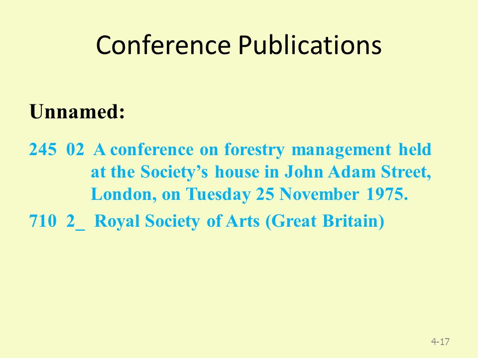 4-17 Conference Publications Unnamed: 245 02 A conference on forestry management held at the Society's house in John Adam Street, London, on Tuesday 25 November 1975.