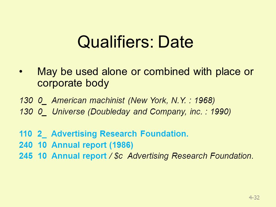 4-32 Qualifiers: Date May be used alone or combined with place or corporate body 130 0_ American machinist (New York, N.Y.
