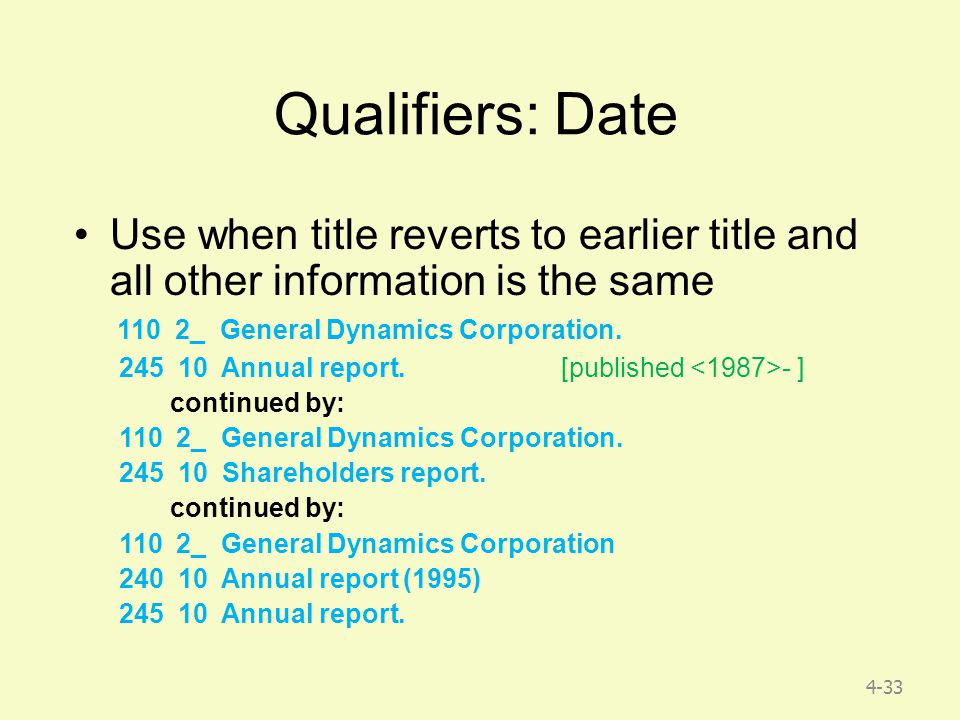 4-33 Qualifiers: Date Use when title reverts to earlier title and all other information is the same 110 2_ General Dynamics Corporation.