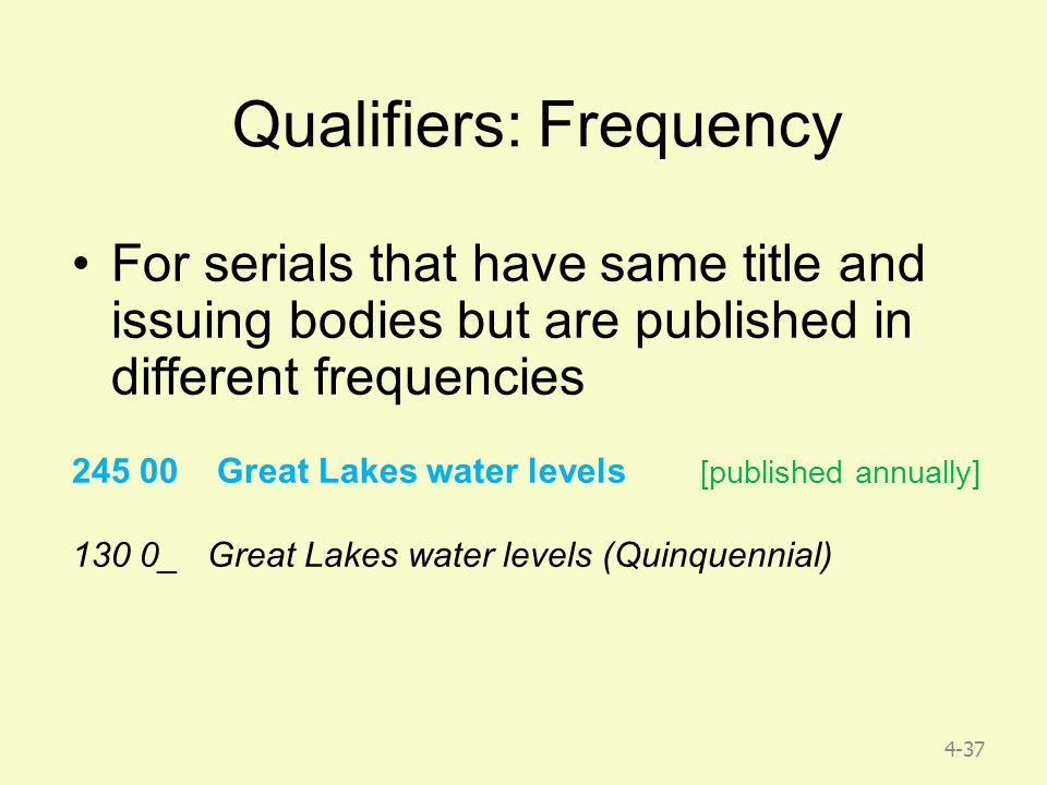 4-37 Qualifiers: Frequency For serials that have same title and issuing bodies but are published in different frequencies 245 00 Great Lakes water levels [published annually] 130 0_ Great Lakes water levels (Quinquennial)