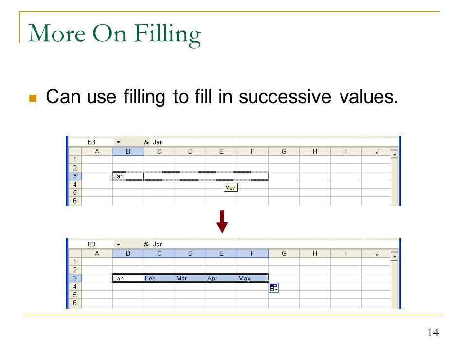 14 More On Filling Can use filling to fill in successive values.