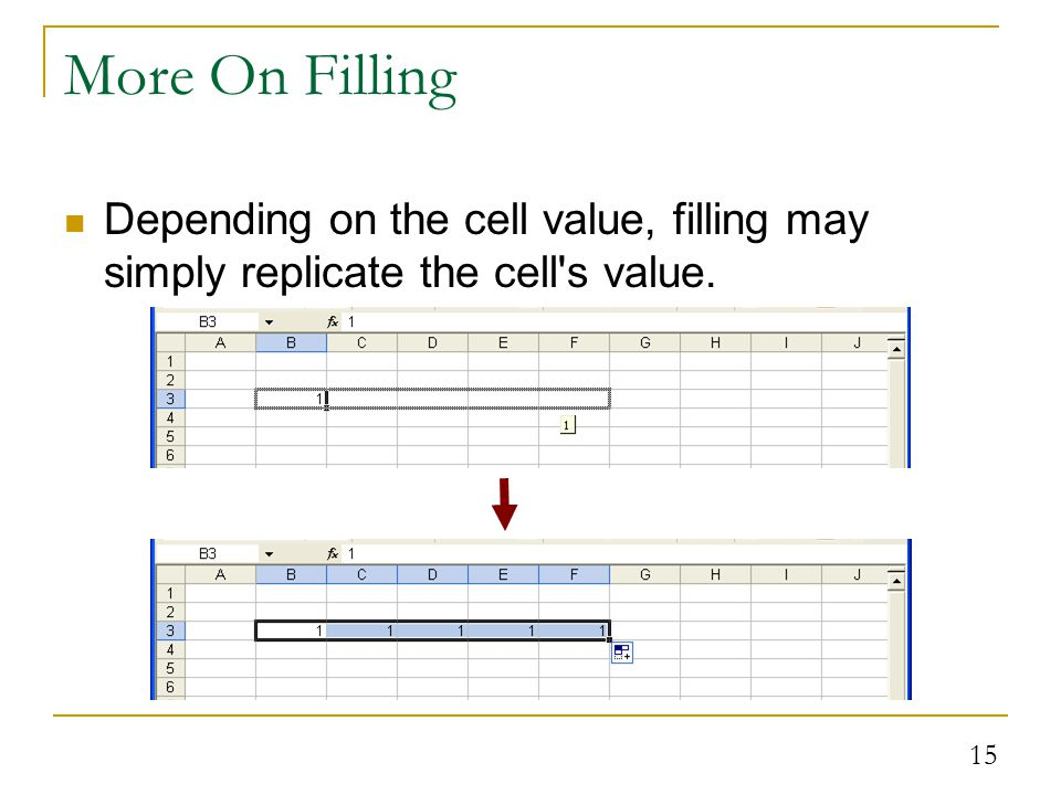 15 More On Filling Depending on the cell value, filling may simply replicate the cell s value.