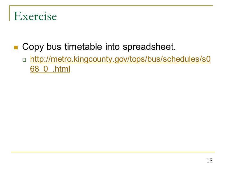 18 Exercise Copy bus timetable into spreadsheet.
