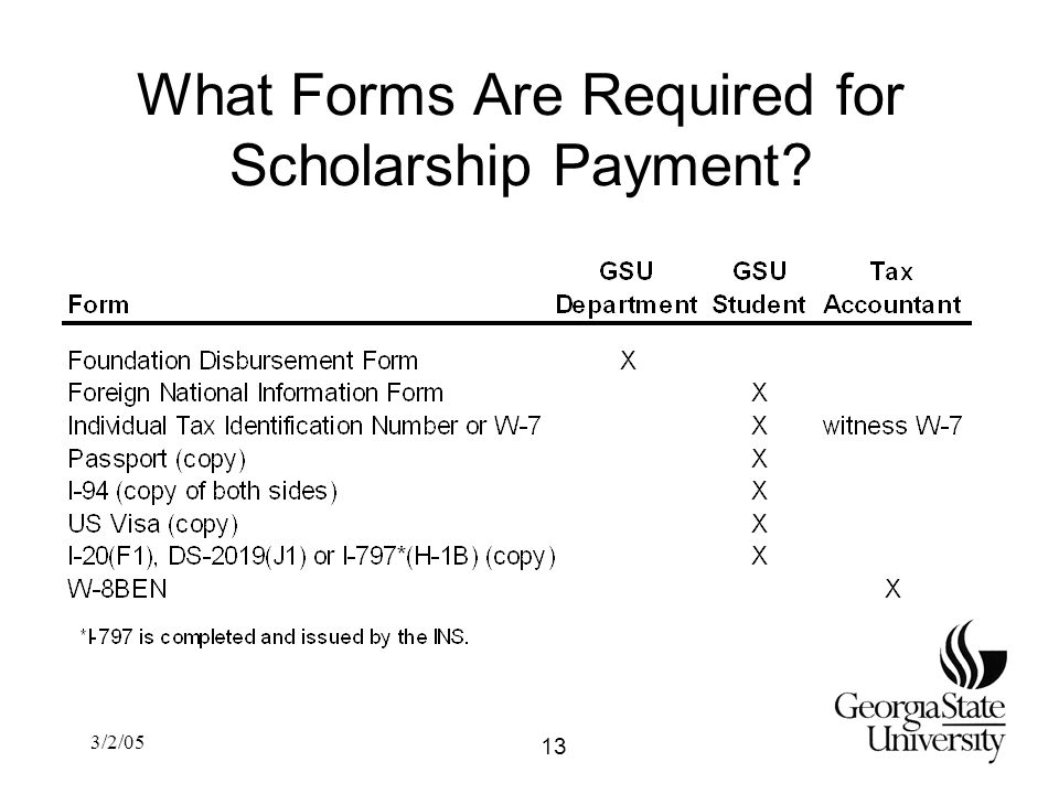 3/2/05 What Forms Are Required for Scholarship Payment 13