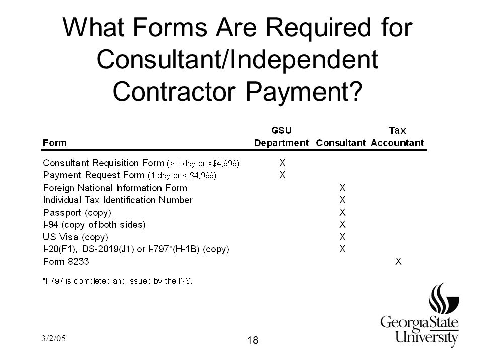 3/2/05 What Forms Are Required for Consultant/Independent Contractor Payment 18