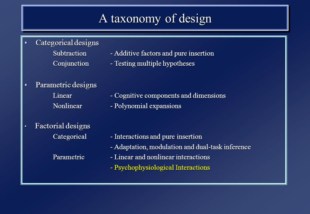 A taxonomy of design Categorical designs Categorical designs Subtraction - Additive factors and pure insertion Conjunction - Testing multiple hypotheses Parametric designs Parametric designs Linear - Cognitive components and dimensions Nonlinear- Polynomial expansions Factorial designs Factorial designs Categorical- Interactions and pure insertion - Adaptation, modulation and dual-task inference Parametric- Linear and nonlinear interactions - Psychophysiological Interactions
