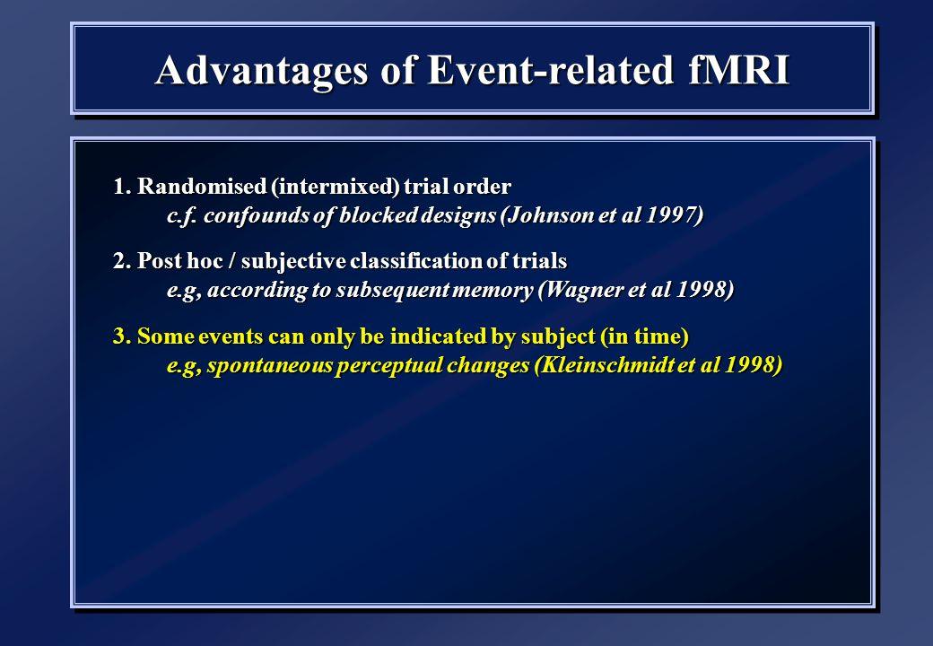 1. Randomised (intermixed) trial order c.f. confounds of blocked designs (Johnson et al 1997) 2.