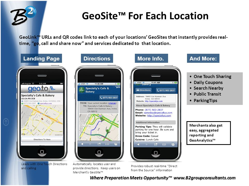 Where Preparation Meets Opportunity™ www.B2groupconsultants.com GeoSite™ For Each Location Landing PageMore Info.Directions One Touch Sharing Daily Coupons Search Nearby Public Transit ParkingTips And More: Merchants also get easy, aggregated reporting and GeoAnalytics™ GeoLink™ URLs and QR codes link to each of your locations' GeoSites that instantly provides real- time, go, call and share now and services dedicated to that location.