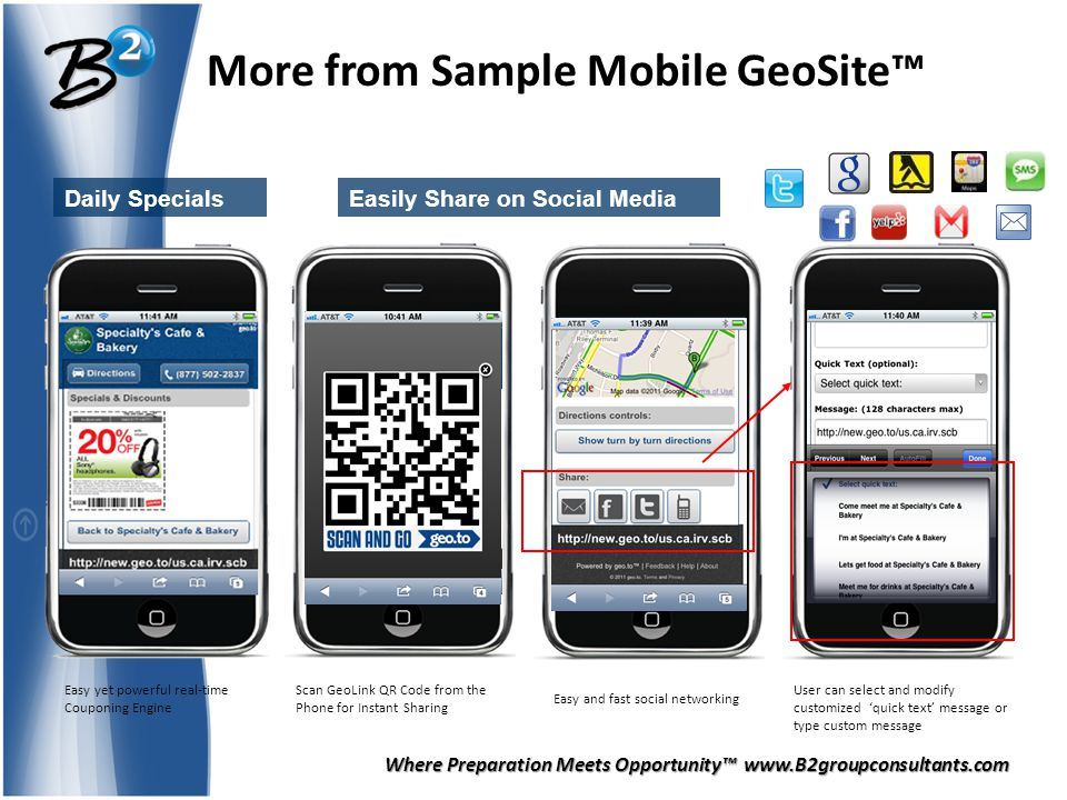 Where Preparation Meets Opportunity™ www.B2groupconsultants.com More from Sample Mobile GeoSite™ Daily SpecialsEasily Share on Social Media Easy yet powerful real-time Couponing Engine Easy and fast social networking User can select and modify customized 'quick text' message or type custom message Scan GeoLink QR Code from the Phone for Instant Sharing