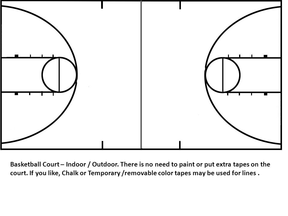 Basketball Court – Indoor / Outdoor. There is no need to paint or put extra tapes on the court. If you like, Chalk or Temporary /removable color tapes