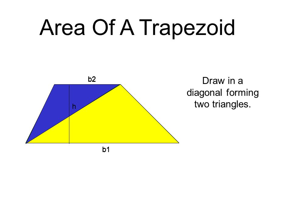 h b1 b2 h b1 b2 Area Of A Trapezoid Draw in a diagonal forming two triangles.