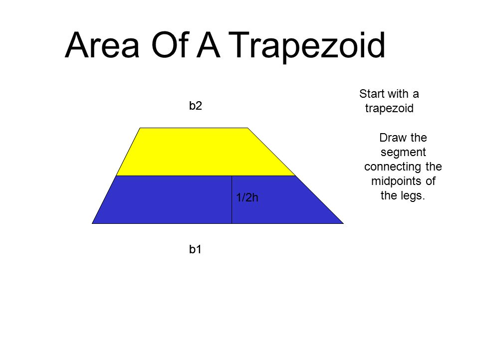 b2 b1 h 1/2h b2 b1 Area Of A Trapezoid Draw the segment connecting the midpoints of the legs.