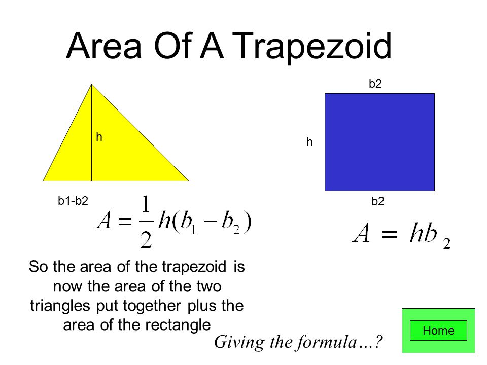h b1 b2 b1 b2 h Area Of A Trapezoid Split the trapezoid into a parallelogram and a triangle