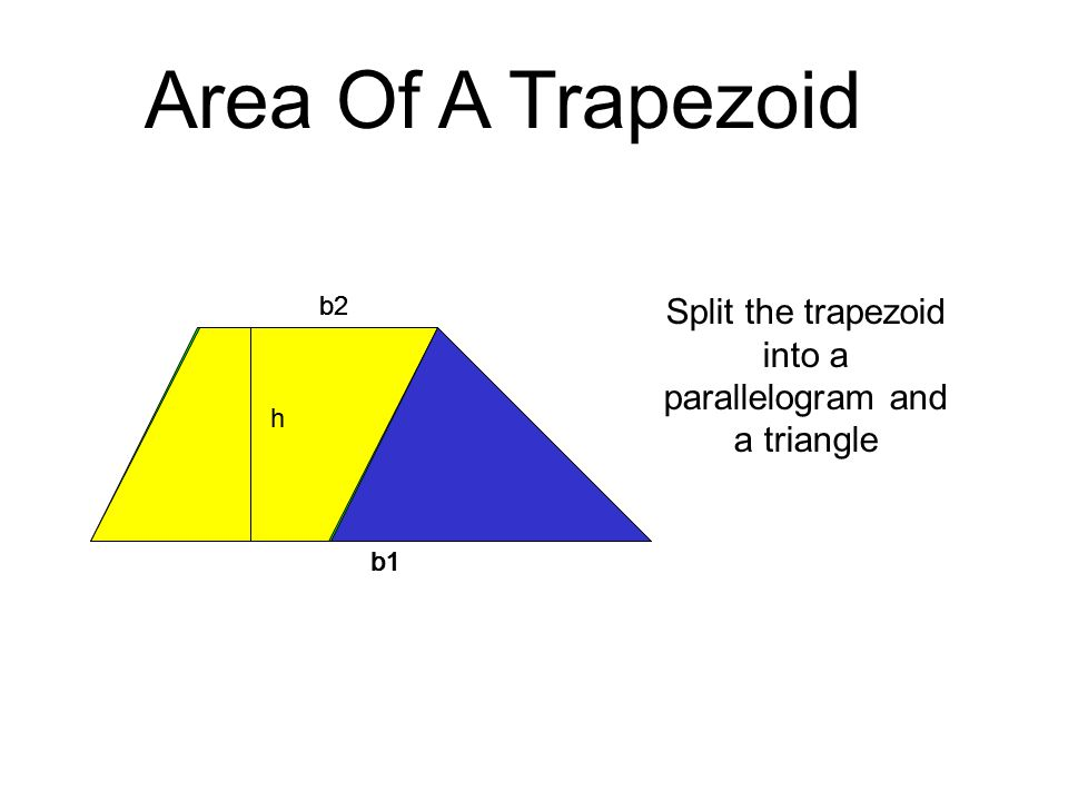 b1-b2b2 h Area Of A Trapezoid b2 h The area of the trapezoid is now the area of the parallelogram plus the area of the triangle.