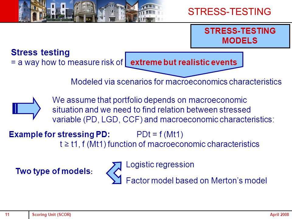 Scoring Unit (SCOR)11April 2008 STRESS-TESTING MODELS Stress testing = a way how to measure risk of Modeled via scenarios for macroeconomics characteristics extreme but realistic events Two type of models : Logistic regression Factor model based on Merton's model We assume that portfolio depends on macroeconomic situation and we need to find relation between stressed variable (PD, LGD, CCF) and macroeconomic characteristics: PDt = f (Mt1) t ≥ t1, f (Mt1) function of macroeconomic characteristics Example for stressing PD: