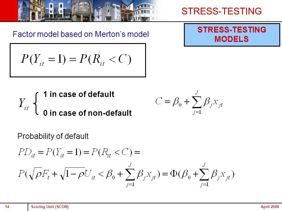 Scoring Unit (SCOR)14April 2008 STRESS-TESTING MODELS Factor model based on Merton's model 1 in case of default 0 in case of non-default Probability of default
