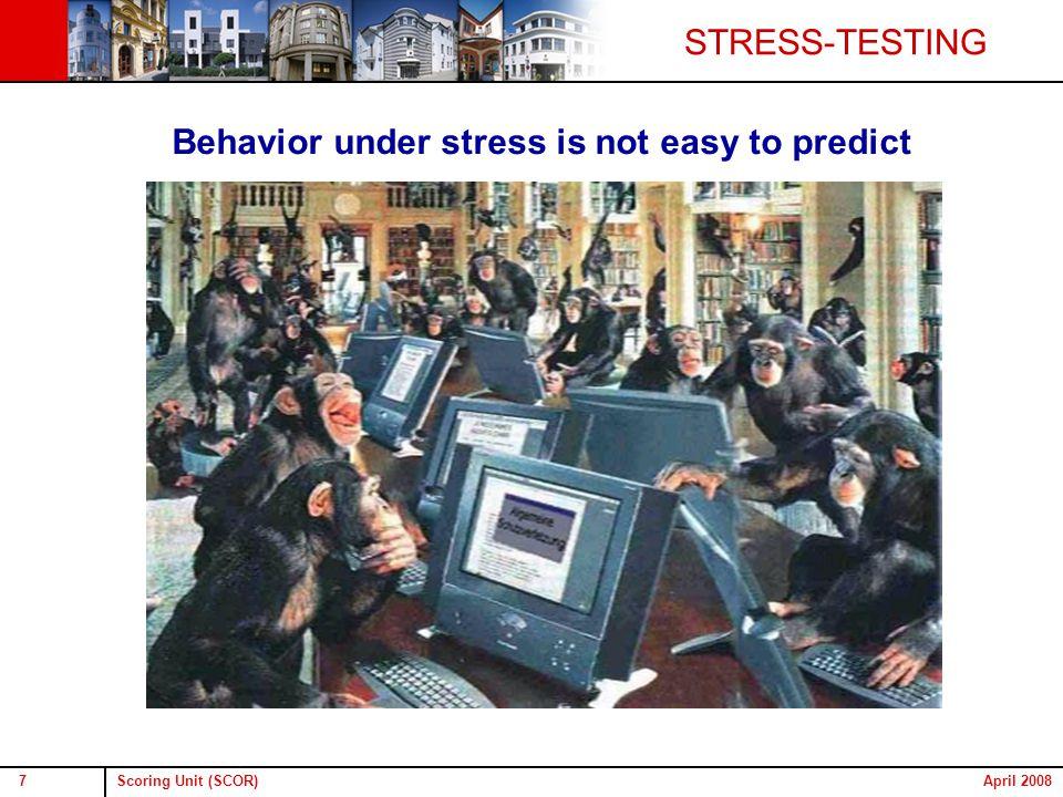 Scoring Unit (SCOR)7April 2008 Behavior under stress is not easy to predict STRESS-TESTING