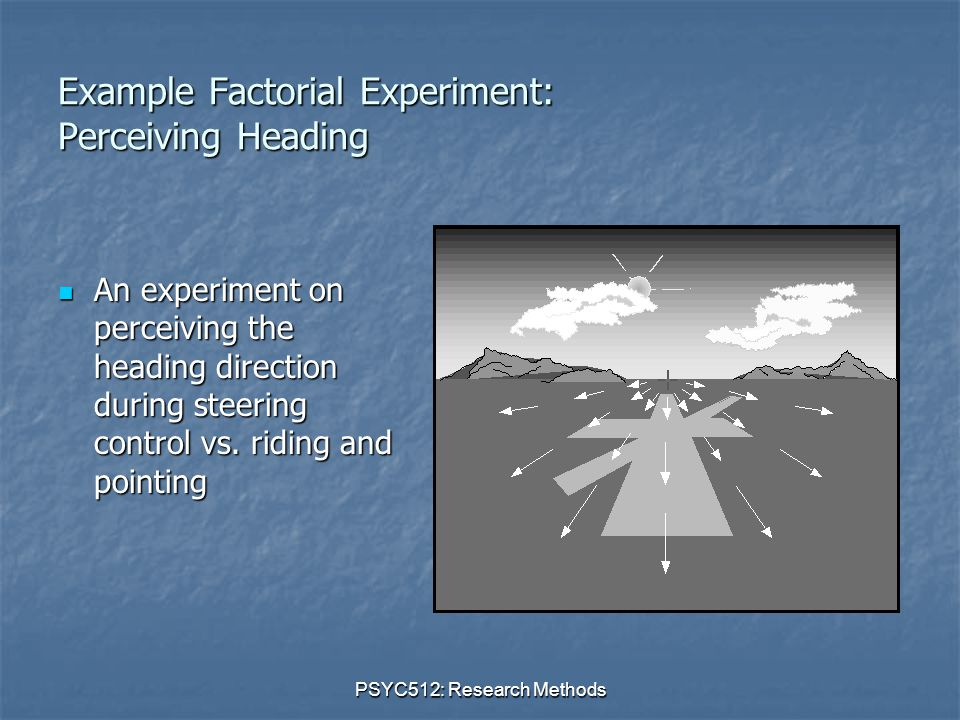 PSYC512: Research Methods Example Factorial Experiment: Perceiving Heading An experiment on perceiving the heading direction during steering control vs.