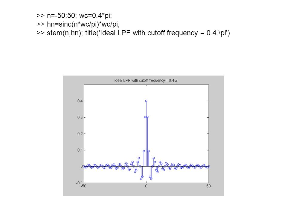 >> n=-50:50; wc=0.4*pi; >> hn=sinc(n*wc/pi)*wc/pi; >> stem(n,hn); title( Ideal LPF with cutoff frequency = 0.4 \pi )