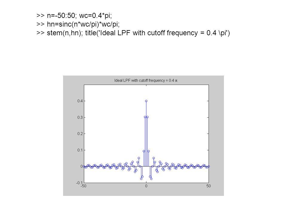 >> n=-50:50; wc=0.4*pi; >> hn=sinc(n*wc/pi)*wc/pi; >> stem(n,hn); title( Ideal LPF with cutoff frequency = 0.4 \pi )