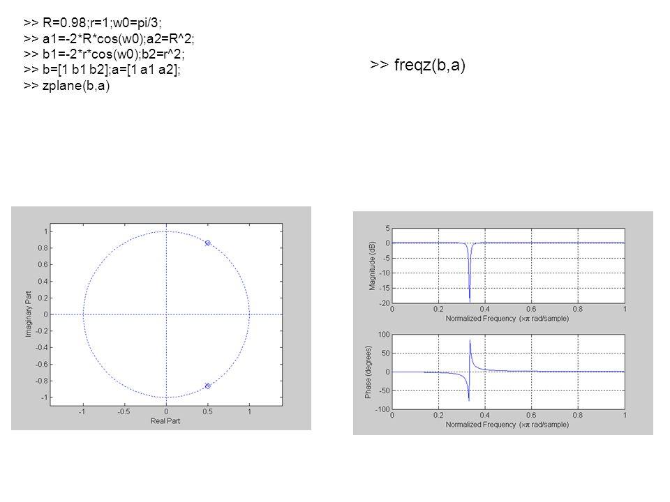 >> R=0.98;r=1;w0=pi/3; >> a1=-2*R*cos(w0);a2=R^2; >> b1=-2*r*cos(w0);b2=r^2; >> b=[1 b1 b2];a=[1 a1 a2]; >> zplane(b,a) >> freqz(b,a)