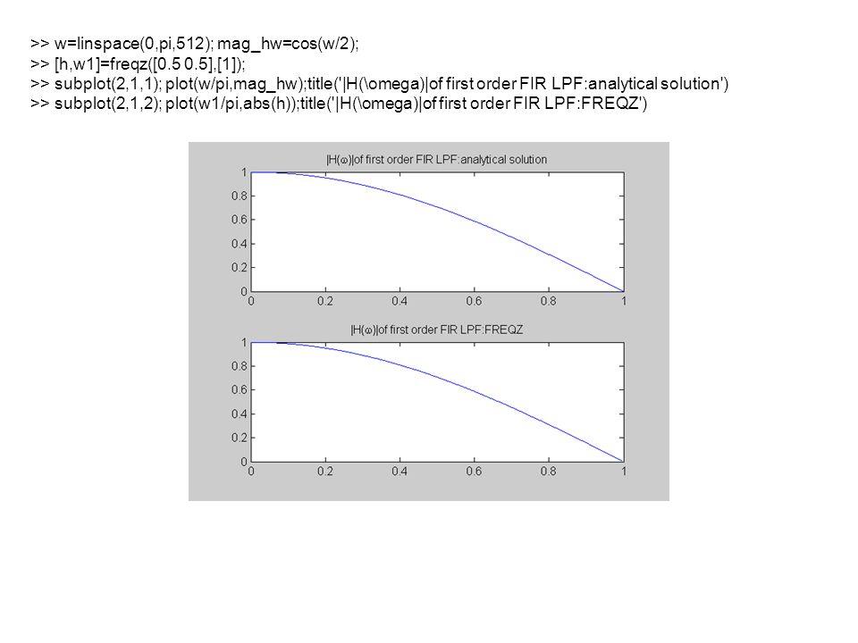 >> R=0.8;r=0.7;w0=pi/3; >> a1=-2*R*cos(w0);a2=R^2; >> b1=-2*r*cos(w0);b2=r^2; >> b=[1 b1 b2];a=[1 a1 a2]; >> zplane(b,a) >> freqz(b,a)