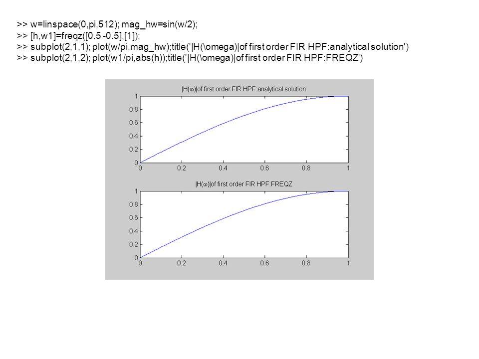 >> R=0.8;r=0.785;w0=pi/3; >> a1=-2*R*cos(w0);a2=R^2; >> b1=-2*r*cos(w0);b2=r^2; >> b=[1 b1 b2];a=[1 a1 a2]; >> zplane(b,a) >> freqz(b,a)