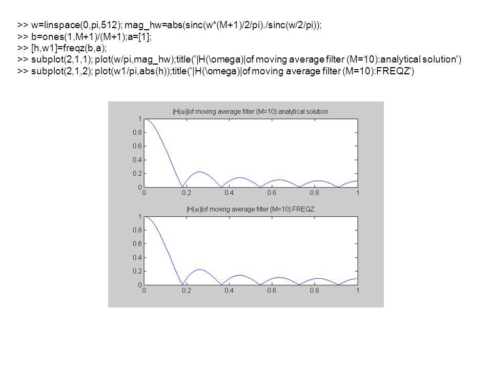 >> w=linspace(0,pi,512); mag_hw=abs(sinc(w*(M+1)/2/pi)./sinc(w/2/pi)); >> b=ones(1,M+1)/(M+1);a=[1]; >> [h,w1]=freqz(b,a); >> subplot(2,1,1); plot(w/pi,mag_hw);title( |H(\omega)|of moving average filter (M=10):analytical solution ) >> subplot(2,1,2); plot(w1/pi,abs(h));title( |H(\omega)|of moving average filter (M=10):FREQZ )