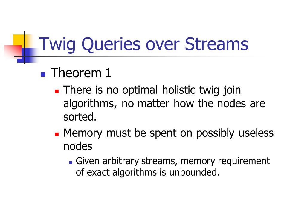 Twig Queries over Streams Theorem 1 There is no optimal holistic twig join algorithms, no matter how the nodes are sorted.