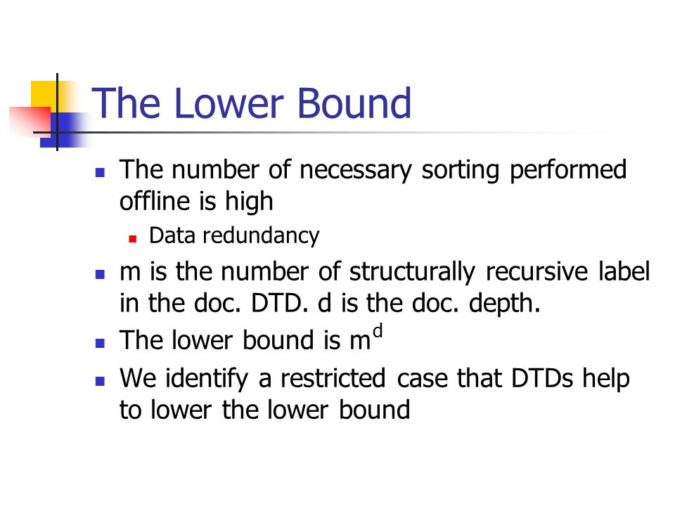 The Lower Bound The number of necessary sorting performed offline is high Data redundancy m is the number of structurally recursive label in the doc.