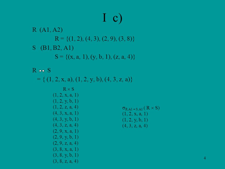 4 I c) R (A1, A2) R = {(1, 2), (4, 3), (2, 9), (3, 8)} S (B1, B2, A1) S = {(x, a, 1), (y, b, 1), (z, a, 4)} R S = { (1, 2, x, a), (1, 2, y, b), (4, 3,
