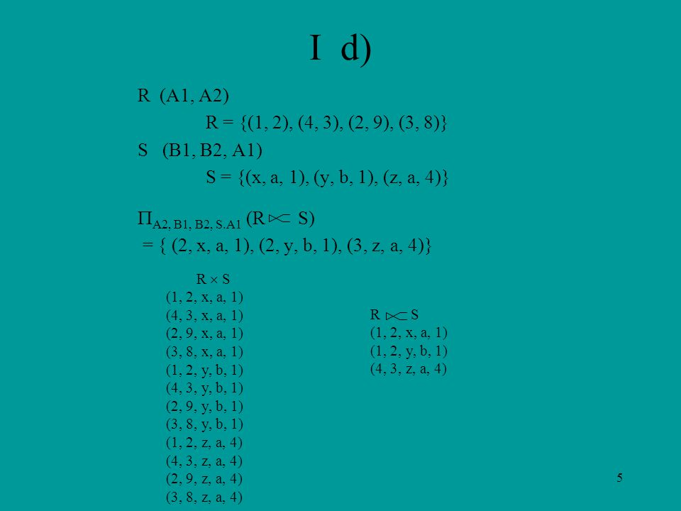 5 I d) R (A1, A2) R = {(1, 2), (4, 3), (2, 9), (3, 8)} S (B1, B2, A1) S = {(x, a, 1), (y, b, 1), (z, a, 4)}  A2, B1, B2, S.A1 (R S) = { (2, x, a, 1), (2, y, b, 1), (3, z, a, 4)} R  S (1, 2, x, a, 1) (4, 3, x, a, 1) (2, 9, x, a, 1) (3, 8, x, a, 1) (1, 2, y, b, 1) (4, 3, y, b, 1) (2, 9, y, b, 1) (3, 8, y, b, 1) (1, 2, z, a, 4) (4, 3, z, a, 4) (2, 9, z, a, 4) (3, 8, z, a, 4) R S (1, 2, x, a, 1) (1, 2, y, b, 1) (4, 3, z, a, 4)