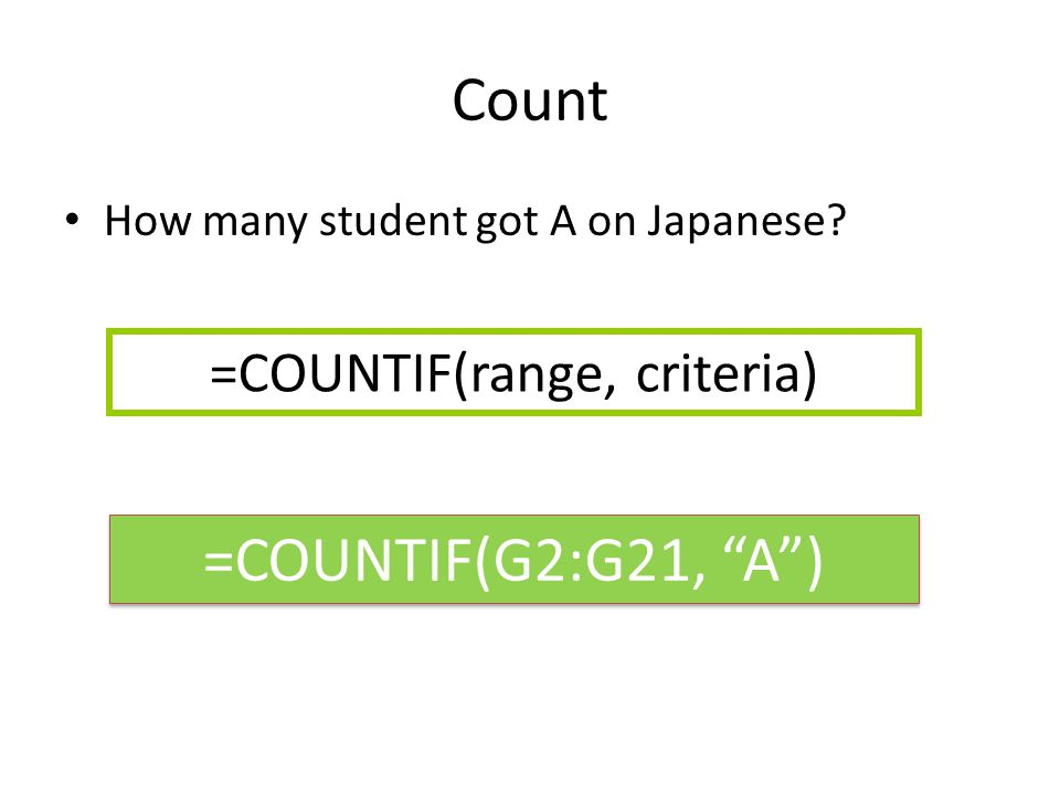 Count How many student got A on Japanese? =COUNTIF(range, criteria) =COUNTIF(G2:G21, A )