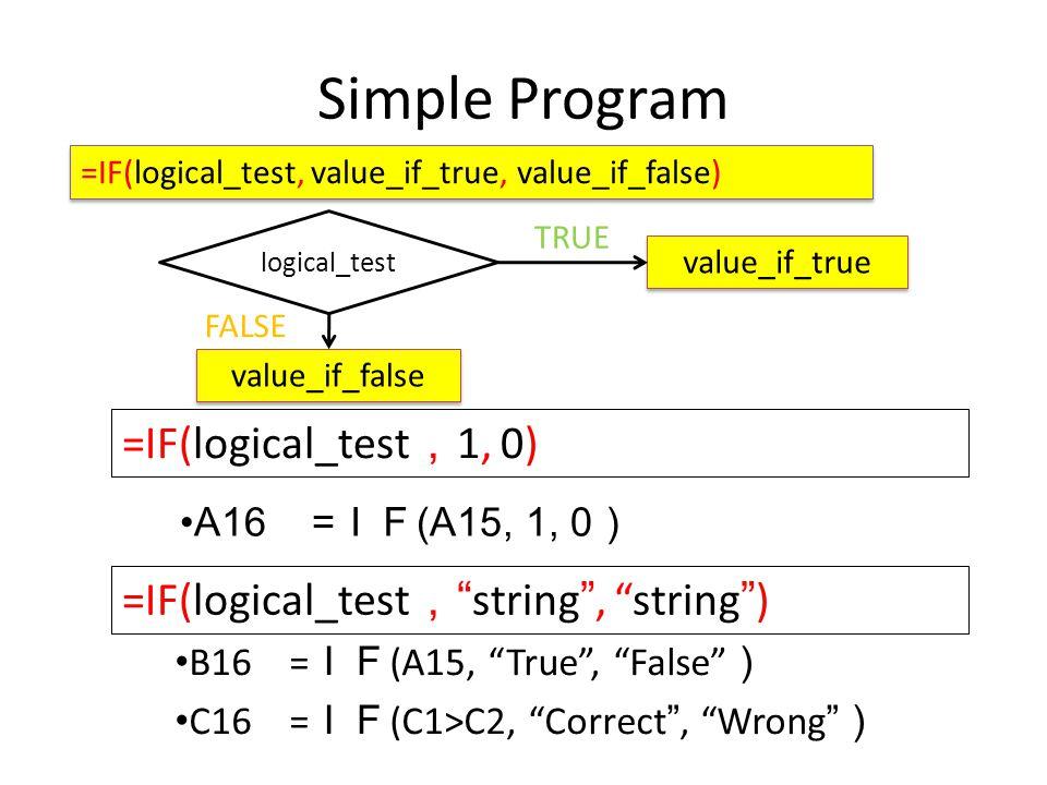 Simple Program D16=IF(A1>=80, Pass , Fail ) Pass FALSE TRUE Fail >=80