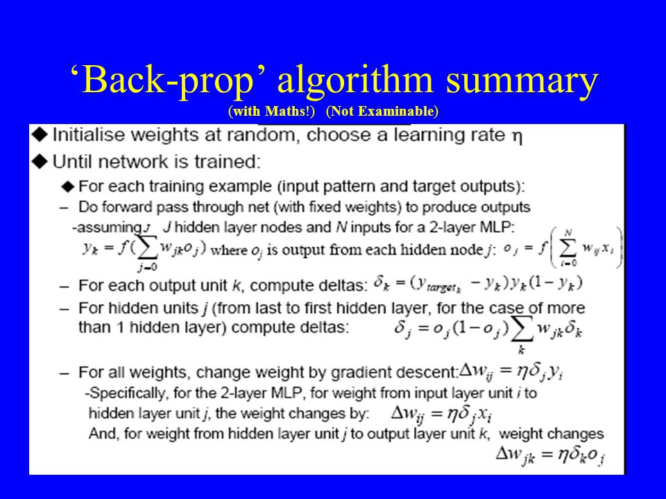 'Back-prop' algorithm summary (with Maths!) (Not Examinable) 24
