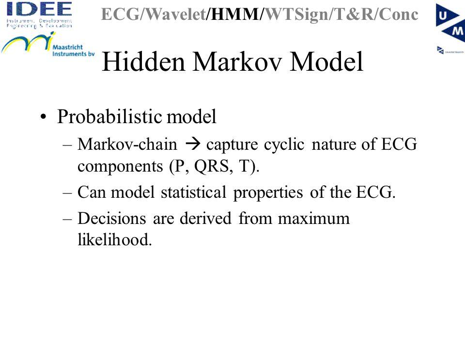 Hidden Markov Model Probabilistic model –Markov-chain  capture cyclic nature of ECG components (P, QRS, T).