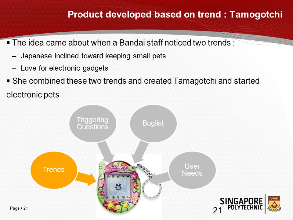 Page  21  The idea came about when a Bandai staff noticed two trends : –Japanese inclined toward keeping small pets –Love for electronic gadgets  She combined these two trends and created Tamagotchi and started electronic pets Product developed based on trend : Tamogotchi Trends Triggering Questions Buglist User Needs 21